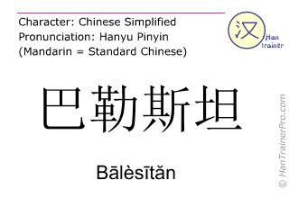 Chinesische Schriftzeichen  ( Balesitan / Bālèsītăn ) mit Aussprache (Deutsche Bedeutung: Palästinensische Autonomiebehörde )