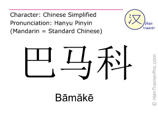 Chinese characters  ( Bamake / Bāmăkē ) with pronunciation (English translation: Bamako )