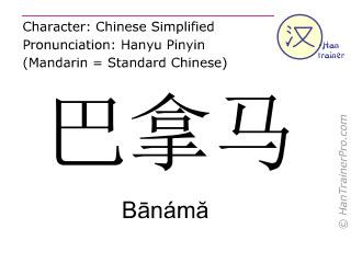 Chinesische Schriftzeichen  ( Banama / Bānámă ) mit Aussprache (Deutsche Bedeutung: Panama )