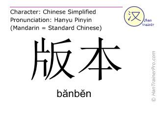 Chinesische Schriftzeichen  ( banben / bănbĕn ) mit Aussprache (Deutsche Bedeutung: Version )