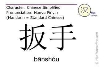 Caracteres chinos  ( banshou / bānshŏu ) con pronunciación (traducción española: llave de tuerca )