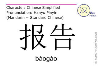 Chinese characters  ( baogao / bàogào ) with pronunciation (English translation: speech )