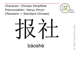 Chinese characters  ( baoshe / bàoshè ) with pronunciation (English translation: newspaper office )