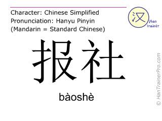 Caractère chinois  ( baoshe / bàoshè ) avec prononciation (traduction française: maison de presse )