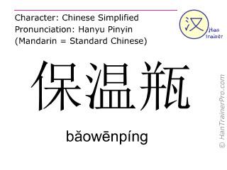 Chinesische Schriftzeichen  ( baowenping / băowēnpíng ) mit Aussprache (Deutsche Bedeutung: Thermosflasche )