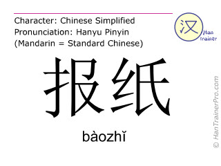 Chinese characters  ( baozhi / bàozh&#301 ) with pronunciation (English translation: newspaper )