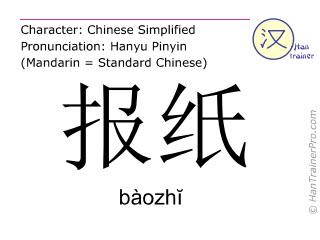 Chinesische Schriftzeichen  ( baozhi / bàozhĭ ) mit Aussprache (Deutsche Bedeutung: Zeitung )