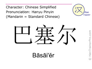 Chinese characters  ( Basai'er / Bāsāi'ĕr ) with pronunciation (English translation: Basel )