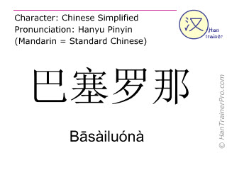 Chinese characters  ( Basailuona / Bāsàiluónà ) with pronunciation (English translation: Barcelona )