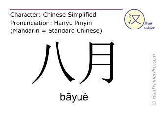 Caracteres chinos  ( bayue / bāyuè ) con pronunciación (traducción española: Agosto )