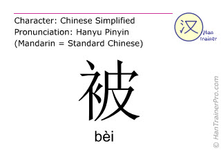 Chinese characters  ( bei / bèi ) with pronunciation (English translation: by )