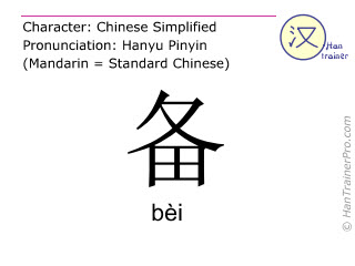 Chinese characters  ( bei / bèi ) with pronunciation (English translation: to prepare )
