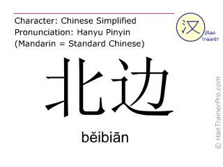 汉字  ( beibian / bĕibiān ) 包括发音 (英文翻译: north )