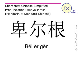 Chinese characters  ( Bei er gen / Bēi ĕr gēn ) with pronunciation (English translation: Bergen )