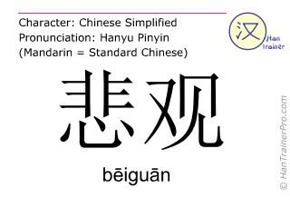 Caracteres chinos  ( beiguan / bēiguān ) con pronunciación (traducción española: pesimista )