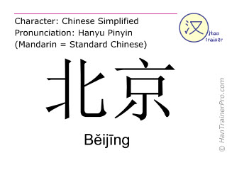 Chinese characters  ( Beijing / Bĕijīng ) with pronunciation (English translation: Beijing )