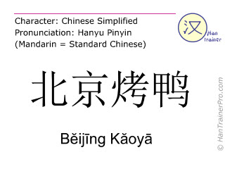 Chinese characters  ( Beijing Kaoya / B&#277ij&#299ng K&#259oy&#257 ) with pronunciation (English translation: Beijing Duck )