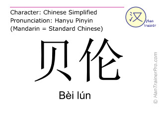 Chinese characters  ( Bei lun / Bèi lún ) with pronunciation (English translation: Belém )