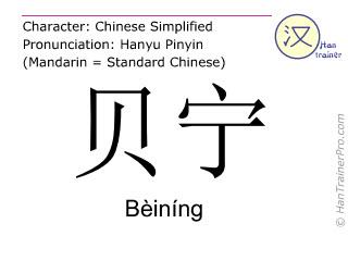 Chinesische Schriftzeichen  ( Beining / Bèiníng ) mit Aussprache (Deutsche Bedeutung: Benin )