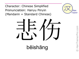 Chinese characters  ( beishang / b&#275ish&#257ng ) with pronunciation (English translation: sad )