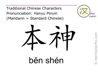 Chinese characters  ( ben shen / bĕn shén ) with pronunciation (English translation: Gall Bladder 13 )