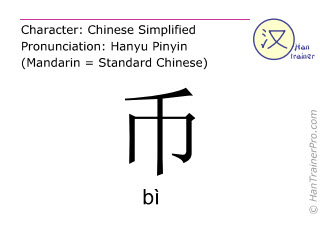Chinese characters  ( bi / bì ) with pronunciation (English translation: money )