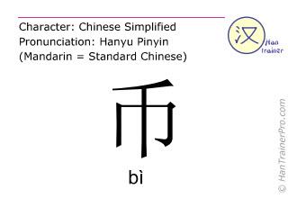 汉字  ( bi / bì ) 包括发音 (英文翻译: money )