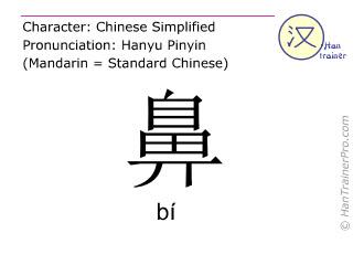 Caractère chinois  ( bi / bí ) avec prononciation (traduction française: nez )