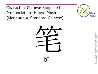Chinese characters  ( bi / b&#301 ) with pronunciation (English translation: pen )