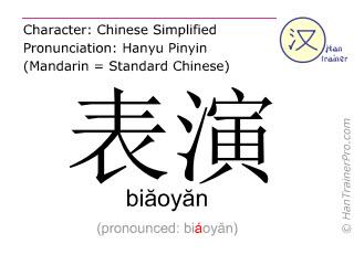 Chinesische Schriftzeichen  ( biaoyan / biăoyăn ) mit Aussprache (Deutsche Bedeutung: aufführen )