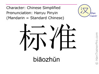 Chinese characters  ( biaozhun / bi&#257ozh&#365n ) with pronunciation (English translation: standard )