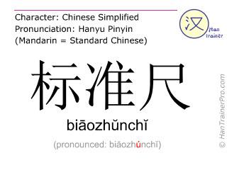 Chinesische Schriftzeichen  ( biaozhunchi / biāozhŭnchĭ ) mit Aussprache (Deutsche Bedeutung: Messgerät )