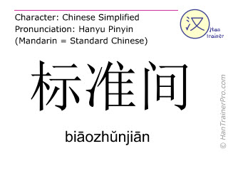 Chinese characters  ( biaozhunjian / biāozhŭnjiān ) with pronunciation (English translation: standard room )
