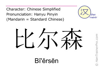 Chinese characters  ( Bi'ersen / Bĭ'ĕrsēn ) with pronunciation (English translation: Pilsen )