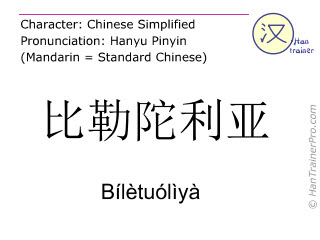 Chinese characters  ( Biletuoliya / Bílètuólìyà ) with pronunciation (English translation: Pretoria )
