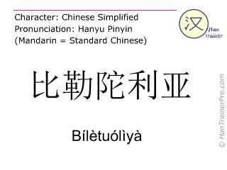 Caracteres chinos  ( Biletuoliya / Bílètuólìyà ) con pronunciación (traducción española: Pretoria )