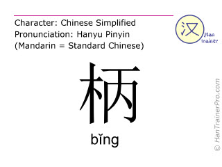 Chinese characters  ( bing / bĭng ) with pronunciation (English translation: handle )