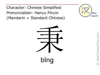 汉字  ( bing / bĭng ) 包括发音 (英文翻译: to maintain )