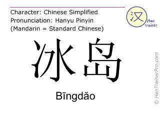 汉字  ( Bingdao / B&#299ngd&#259o ) 包括发音 (英文翻译: Iceland )