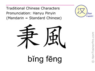 Caractère chinois  ( bing feng / bĭng fēng ) avec prononciation (traduction française: intestin grêle 12 )