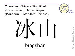 Chinese characters  ( bingshan / b&#299ngsh&#257n ) with pronunciation (English translation: iceberg )