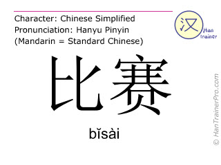 Chinese characters  ( bisai / bĭsài ) with pronunciation (English translation: match )