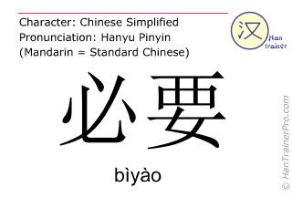 Chinese characters  ( biyao / bìyào ) with pronunciation (English translation: necessary )