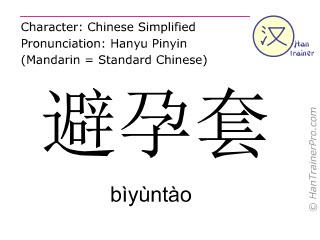 Chinesische Schriftzeichen  ( biyuntao / bìyùntào ) mit Aussprache (Deutsche Bedeutung: Kondom )