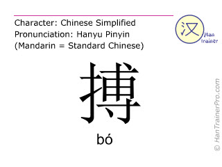 Chinese characters  ( bo / bó ) with pronunciation (English translation: to fight )