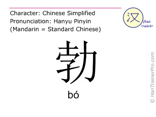 Chinese characters  ( bo / b&oacute; ) with pronunciation (English translation: <m>vigorous</m> )