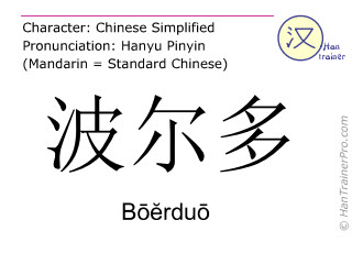 Chinese characters  ( Boerduo / Bōĕrduō ) with pronunciation (English translation: Bordeaux )