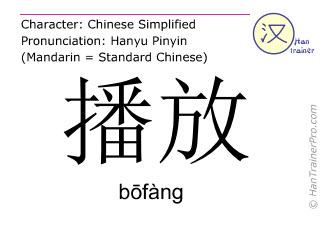 Chinesische Schriftzeichen  ( bofang / bōfàng ) mit Aussprache (Deutsche Bedeutung: ausstrahlen )