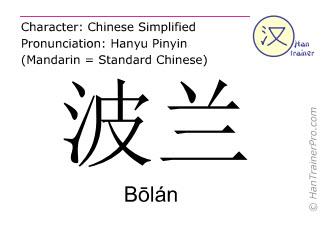 Chinese characters  ( Bolan / Bōlán ) with pronunciation (English translation: Poland )