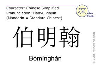 Caractère chinois  ( Bominghan / Bómínghàn ) avec prononciation (traduction française: Birmingham )
